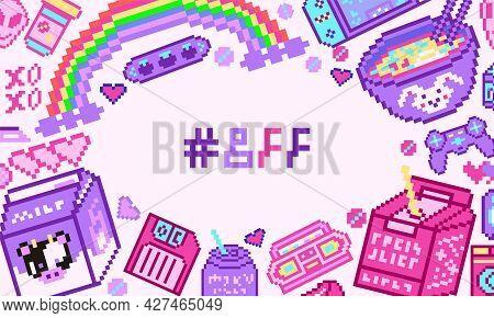 Pixel Art 8 Bit Objects Poster Or Banner. Retro Digital Game Assets Background. Set Of Pink Fashion