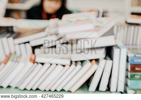 Piles Of Books On Table. Bookstore. Education, School, Reading Of Literature