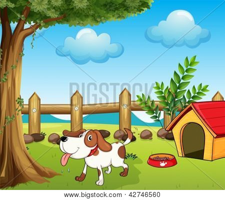 Illustration of a thirsty dog inside the fence