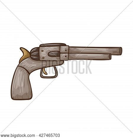 Vector Doodle Illustration Of A Metal Authentic Cowboy Revolver Or Pistol. Sticker On The Theme Of T