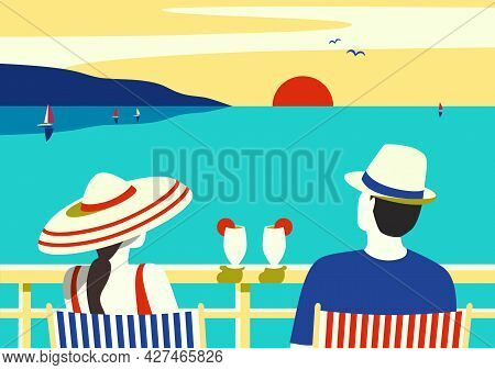 Couple Enjoy Ocean Cruise Vacation Vector Poster. Female, Male Watching Sunset Simple Pop Art Style