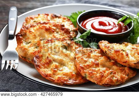 Crispy Chicken Fritters, Chicken Breast Patties Served With Tomato Sauce On A Plate, Horizontal View