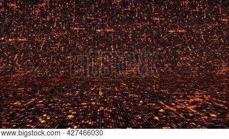 Lava Background In Cyberspace. Animation. Background Is Made Of Cybernetic Lava Rising Like Wave. Ab