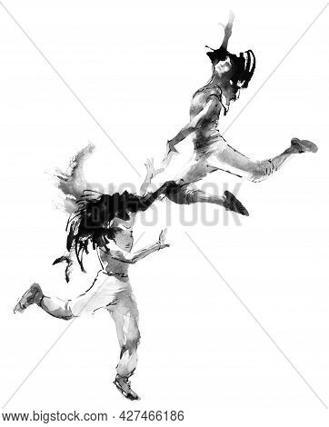 Watercolor And Ink Illustration Of Dancing Girls In A Jump With Flying Hair. Oriental Traditional Pa