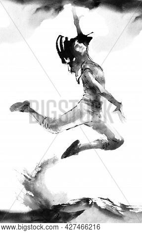 Watercolor And Ink Illustration Of Dancing Girl In A Jump With Flying Hair. Oriental Traditional Pai
