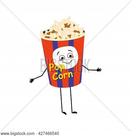 Cute Popcorn Character In A Holiday Box With Happy Emotions, Joyful Face, Smile Eyes, Arms And Legs.