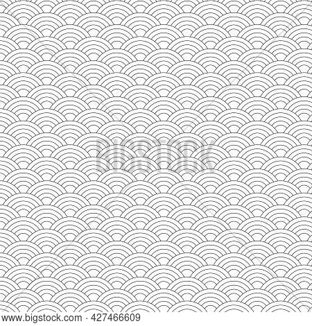Seamless Pattern Black And White Wave Japanese Style. Illustration Abstract Background.