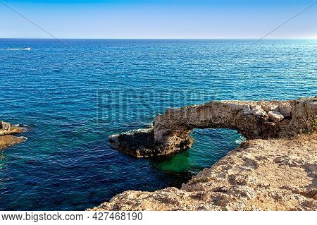 A Picturesque Natural Rock Called Love Bridge. Located In The Resort Town Of Ayia Napa On The Island