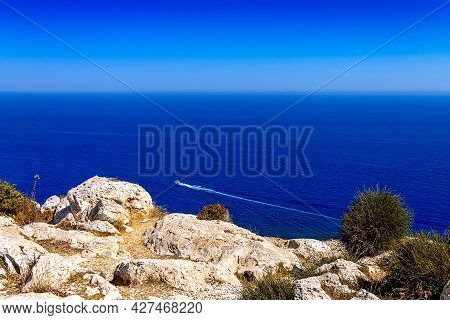 A View Of The Mediterranean Sea Of Cyprus From The Viewpoint Of Capo Greco National Park. A Tourist