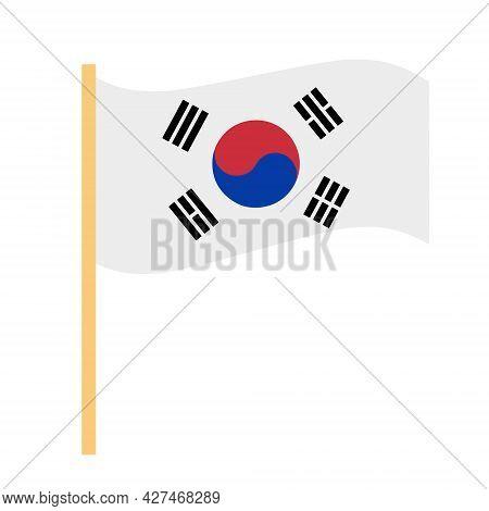 South Korea Flag Icon Flat Style. Isolated On White Background. Vector Illustration