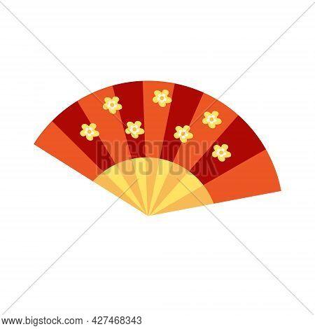Japanese Asia Fan Icon Flat Style. Isolated On White Background. Vector Illustration