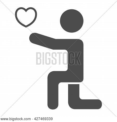 Man On His Knees With Heart Solid Icon, 8 March Concept, Man Giving Heart To His Lover Sign On White