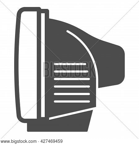 Tv Side View Solid Icon, Monitors And Tv Concept, Cathode Ray Tube Side View Vector Sign On White Ba
