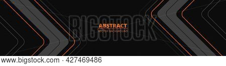 Black Wide Abstract Horizontal Banner With Gray And Orange Lines, Arrows And Angles. Dark Modern Spo