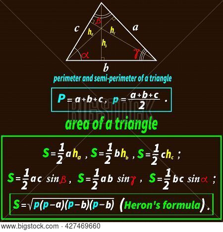 Vector Illustration Depicting A Triangle And Formulas For Calculating The Area And Perimeter Of A Tr