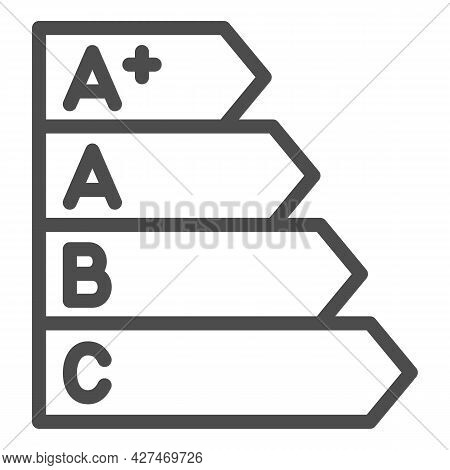 Energy Efficiency Bands Line Icon, Monitors And Tv Concept, Energy Efficiency Rating Vector Sign On