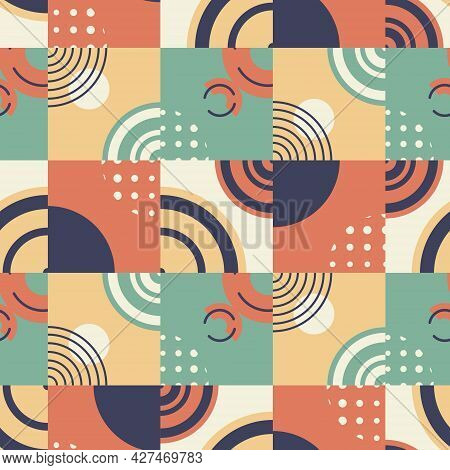Vector Abstract Seamless Pattern. Bright Geometric Shapes And Forms. Retro Styled Layout Or Template