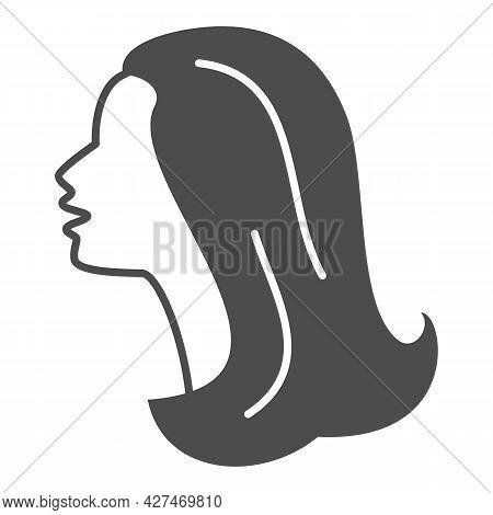 Female Head Silhouette Solid Icon, 8 March Concept, Woman Profile Sign On White Background, Beautifu