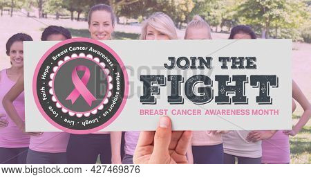 Composition of pink ribbon logo and breast cancer text, with diverse group of women. breast cancer positive awareness campaign concept digitally generated image.