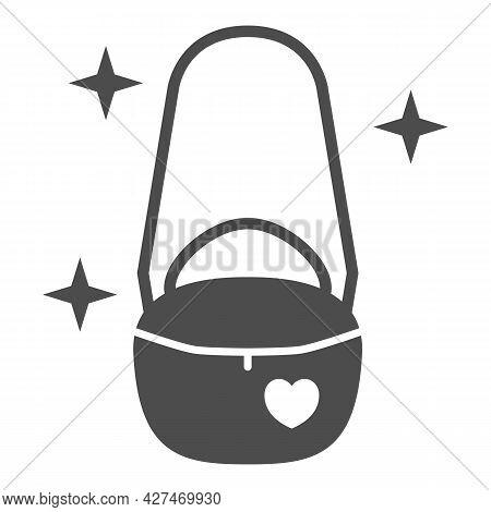 Women Handbag On Chain Solid Icon, 8 March Concept, Handbag Purse Sign On White Background, Beautifu