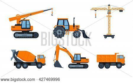 Orange Construction Heavy Machinery Icons Set. Forklifts Cranes Excavator, Tractor, Bulldozer, Truck