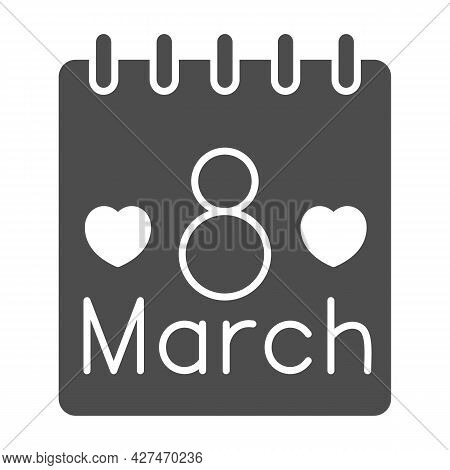 International Women Day Calendar Solid Icon, 8 March Concept, Calendar Day On 8th March Sign On Whit