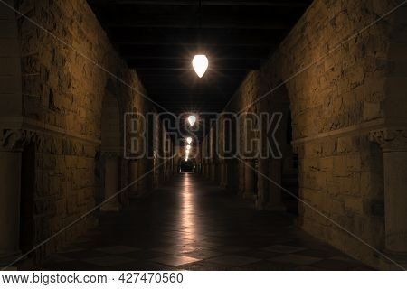 Palo Alto, California - July 19, 2021: Empty Colonnade in Main Quad of Stanford University