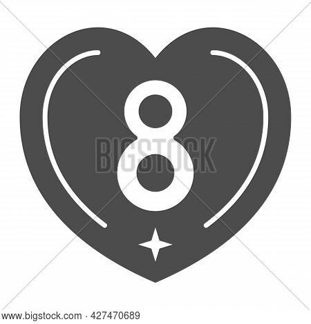 Eight In Heart Solid Icon, 8 March Concept, International Women Day Greeting Card Sign On White Back