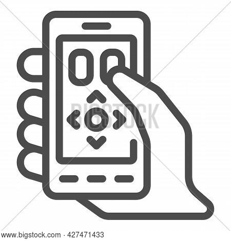 Smartphone As A Remote Control Line Icon, Tv And Monitors Concept, Phone As Remote Vector Sign On Wh