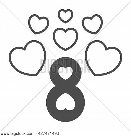 Eight Number With Hearts Solid Icon, 8 March Concept, Women Day Greeting Card Sign On White Backgrou