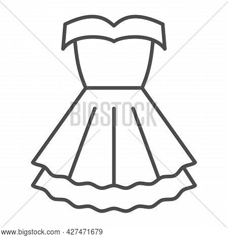 Women Party Dress Thin Line Icon, 8 March Concept, Classic Fashion Cloth For Woman Sign On White Bac