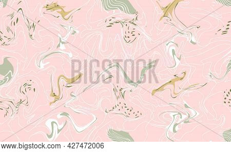 Vector Abstract Horizontal Background In Trendy Colors. Decoration With Blurs, Spots And Blots. Mixe