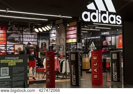 Adidas Sportswear And Footwear Store In The Mall. Moscow, Russia, 07-21-2021.