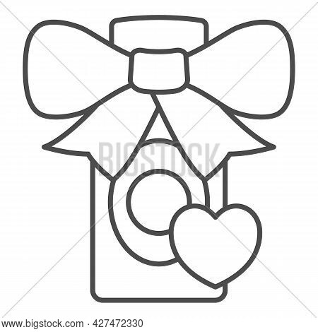 Perfume Gift For Loved One Thin Line Icon, 8 March Concept, Gift For Woman Sign On White Background,