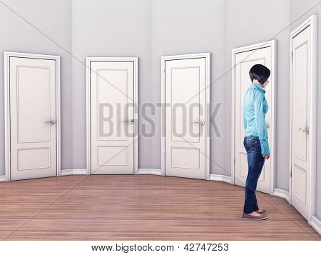 Girl Before A Doors