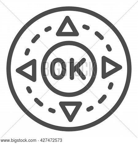 Remote Control Buttons Line Icon, Monitors And Tv Concept, Ok And Arrows Button Vector Sign On White