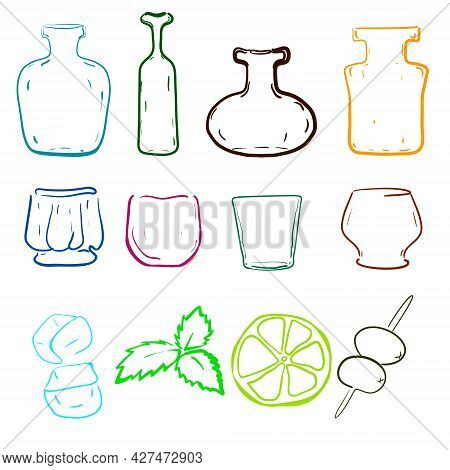 Bottle And Glass Silhouettes In Vector. Outline Digital Painting Of Bottles And  Shapes Of Glasses P