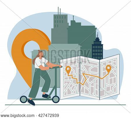 Urban Transportation Abstract Concept Vector Illustration. Personal Electric Transport, Bike Sharing