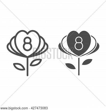 Flower With Eight Number And Petals In Form Of Hearts Line And Solid Icon, 8 March Concept, Woman Da
