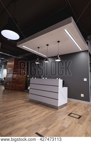 Interior of empty lobby with reception counter in modern office. modern office of a creative design business.