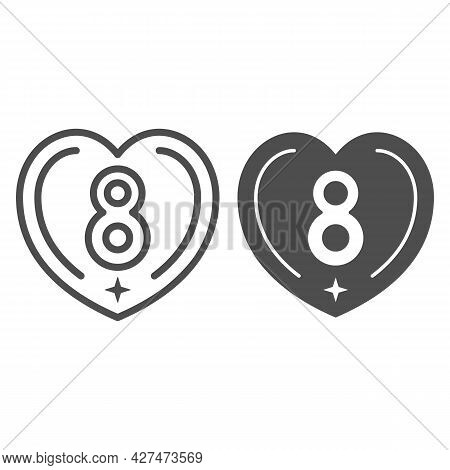 Eight In Heart Line And Solid Icon, 8 March Concept, International Women Day Greeting Card Sign On W