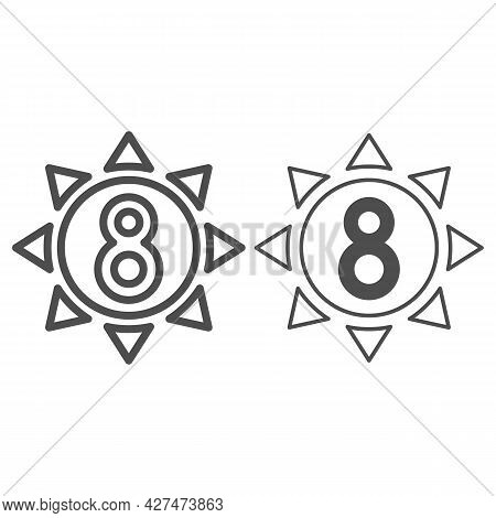 Eight In Sun Line And Solid Icon, 8 March Concept, Sun Symbol With Eight Number On White Background,