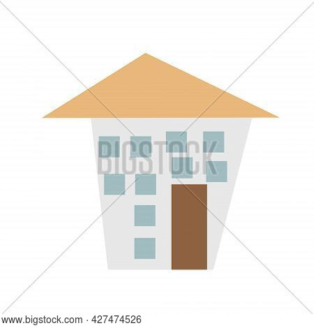 House Illustration With Simple Childish Style. Isolated On White Background.