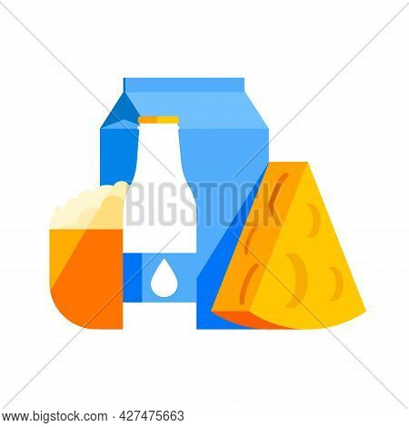 Vector Flat Abstract Illustration With Fermented Milk Products. Cheese, Packages Of Milk, Yogurt, A