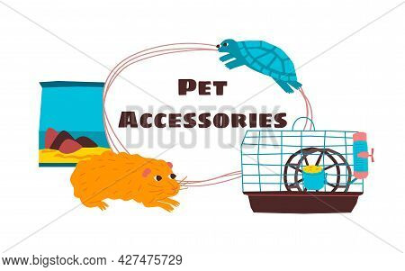 Vector Illustration With Frame, Design Of Text Of Pet Store. Image Shows A Frame, Background With Go