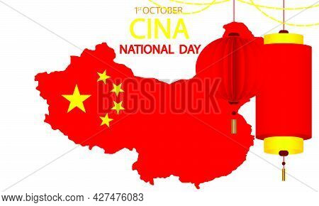 Map Of China For The National Day Of China, Vector Art Illustration.