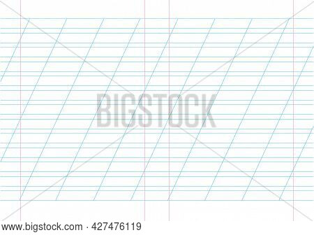 Empty Incline Lined Pages Notebook School Blank Pad, Vector Background. Blue Striped Copybook. Red R