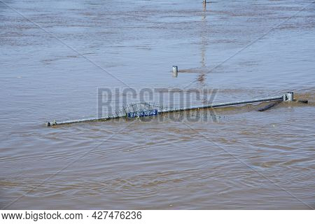 Flood Water In Fields, Netherlands Countryside, 2021. Climate Change, Extreme Weather, Global Warmin
