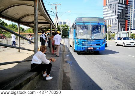 Passengers Are Seen Waiting For Public Transport Buses