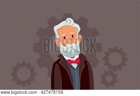 Jules Verne Vector Cartoon Caricature Illustration Design
